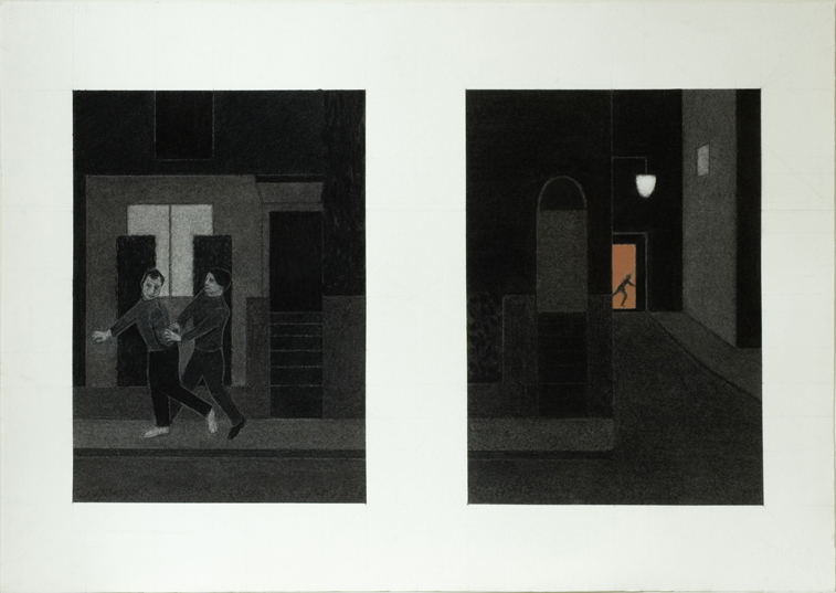 Suspect and Culprit Diptych (Charcoal on Paper, 757mm x 538mm, 2006)