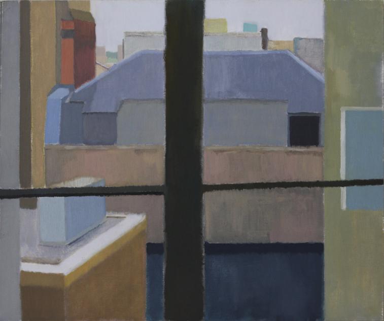 Euston Roofs (Oil on Primed Paper, 542mm x 455mm, 2002)
