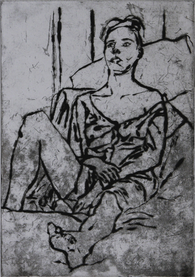 Model Propped-Up (Drypoint Print, 207mm x 295mm, 2001)