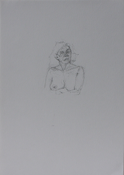 Life Drawing, head and shoulders (Pencil on Paper, 296mm x 210mm, 2011)