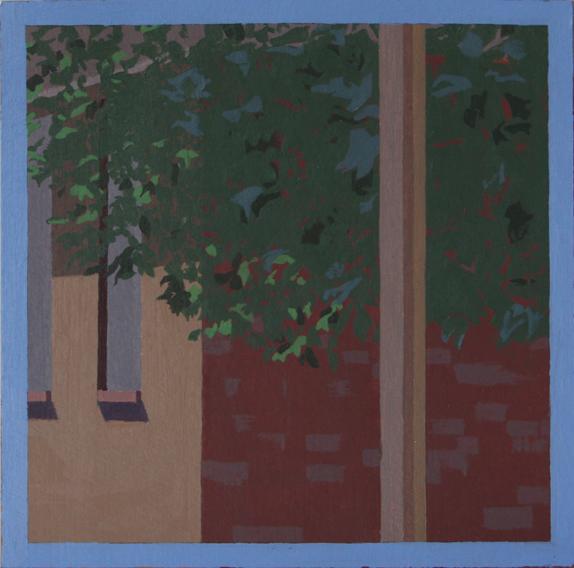 Sunny Morning Tree (Oil on Primed Paper, 139mm x 139mm, 2011)