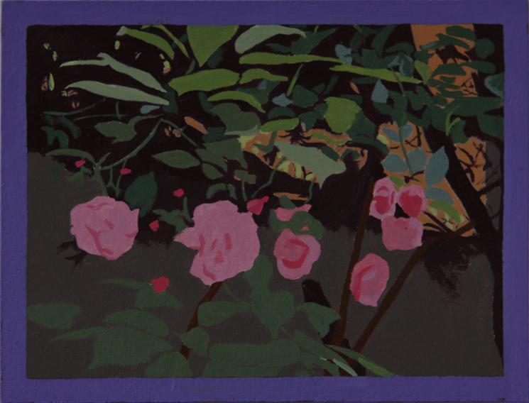 Garden Roses (Oil on Primed Paper, 132mm x 101mm, 2011)