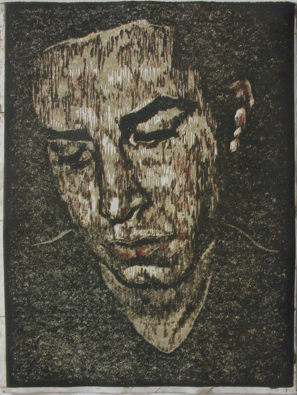 Self-Portrait (Hand-Printed 4-Colour Linocut, 150mm x 201mm, 2001)