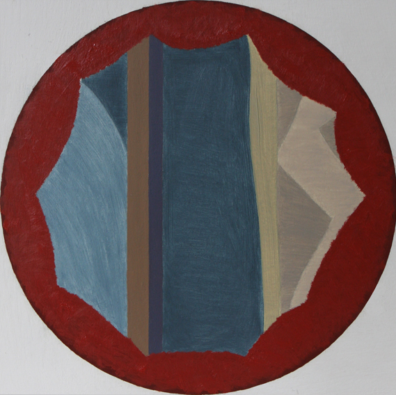 Blood and Blue-Shadowed Room (Oil on Primed Paper, 212mm x 212mm, 2010)