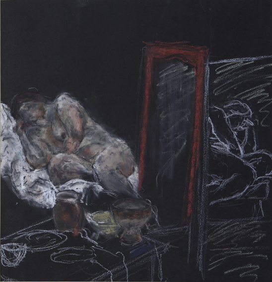 Study of a Model with Mirrors (Oil Pastel on Paper, 291mm x 303mm, 2000)