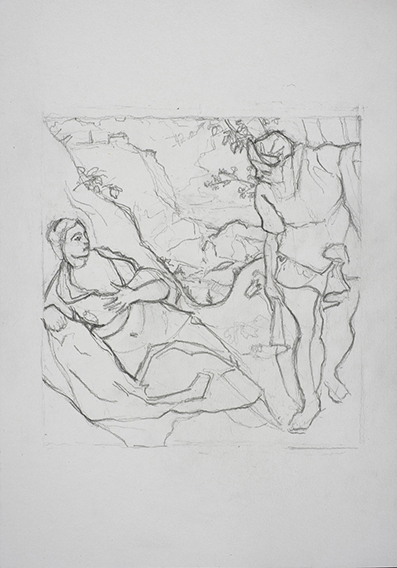 19. after Tintoretto (Judah and Tamar) (Graphite on Paper, 210mm x 296mm, 2007) shrunk for website