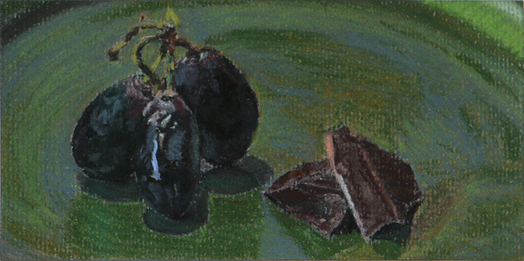 Black Grapes and Chocolate (Soft Pastel on Paper, 81mm x 162mm, 2010)