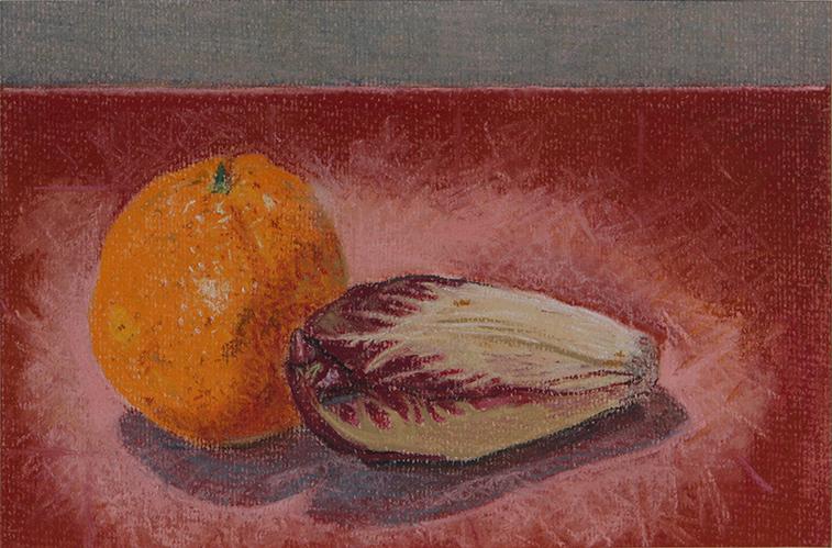 Orange and Radicchio (Soft Pastel on Paper, 150mm x 228mm, 2010)