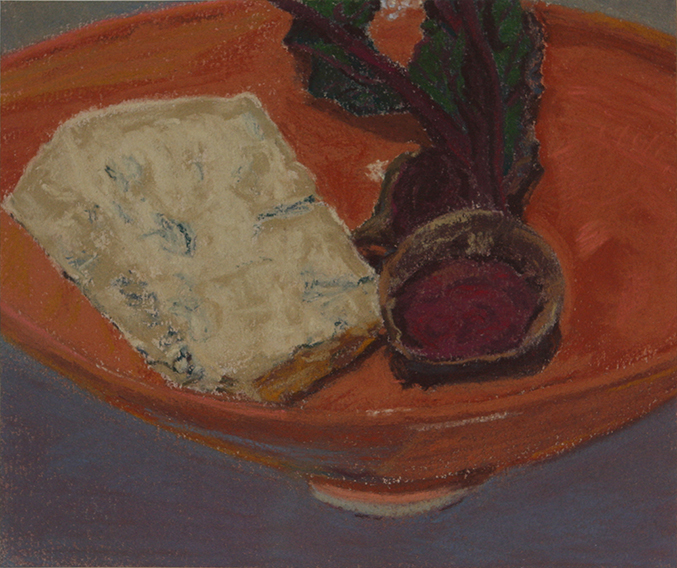 Gorgonzola and Beetroot (Soft Pastel on Paper, 154mm x 183mm, 2011)