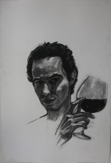 Self-Portrait Study as Bacchus (Charcoal on Paper, 384mm x 570mm, 2007)