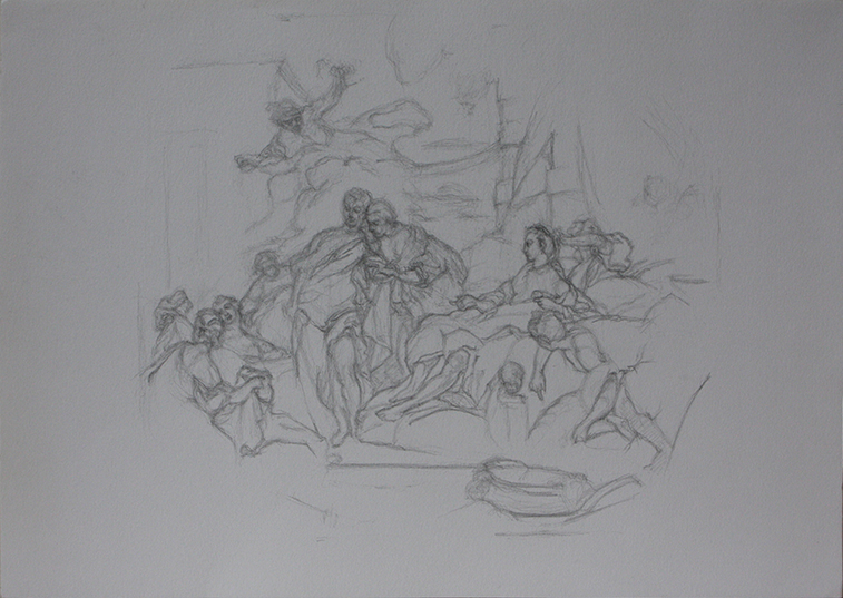 After Fragonard's Psyche (Pencil on Paper, 297mm x 420mm, 2011)