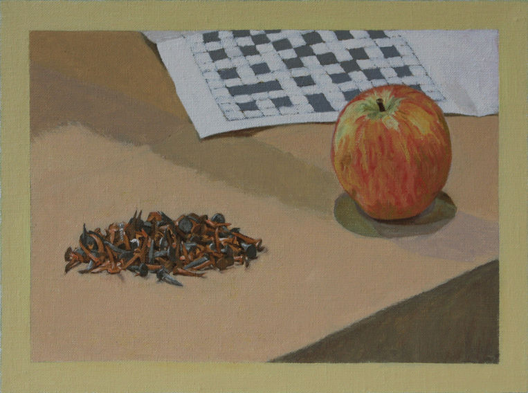 Memento Mori for a Painter; at the Framer's (Oil on Canvas on Board, 168mm x 225mm, 2013)