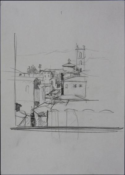 view from the roof of the Palazzo Pubblico, Siena (Pencil on Paper, 210mm x 296mm, 2004)