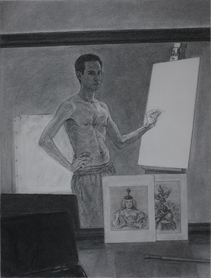 Painter Practise (Charcoal, Graphite, Conte on Paper,634mm x 475mm, 2012)