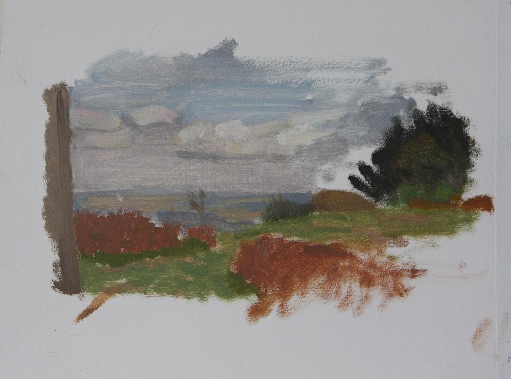 Study for 'In Obitu Pax' (Oil on Primed Paper, 2012)