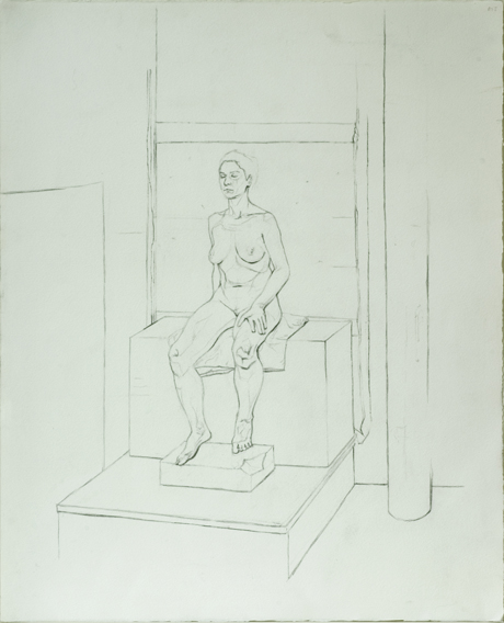 Life Model, Sustained Pose (Pencil on Paper, 461mm x 559mm, 2002)