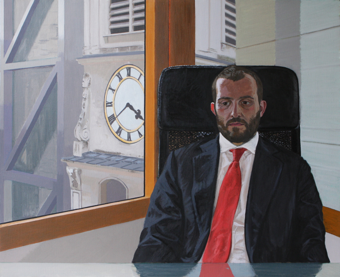 Jonny's Portrait (Oil on Canvas, 600mm x 743mm, 2012)