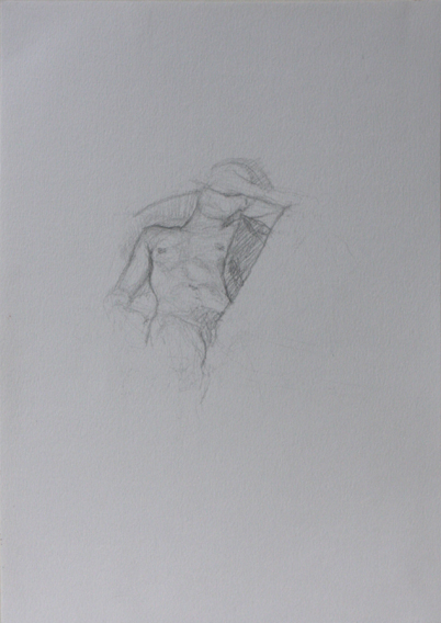 Life Drawing, Shielding (Pencil on Paper, 296mm x 210mm, 2012)