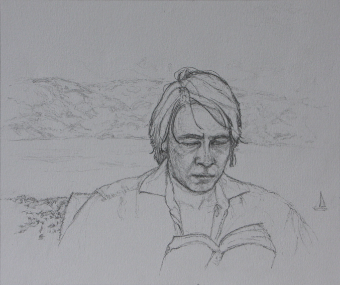 Alex Reading in Corfu (Pencil on Paper, 176mm x 210mm, 2011)