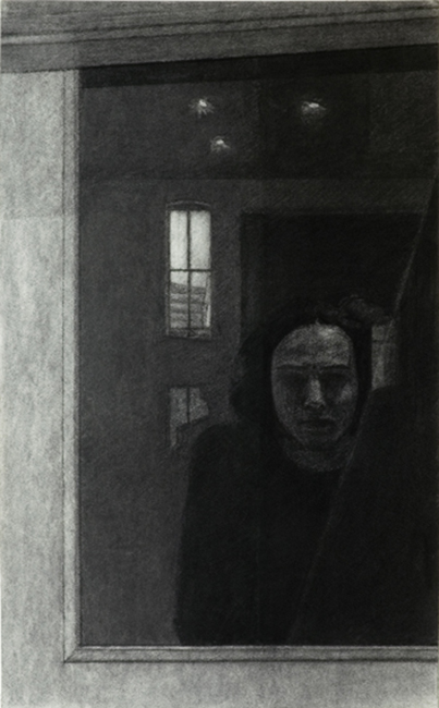 Night Reflections on a Window (Charcoal on Paper, 400mm x 646mm, 2003)