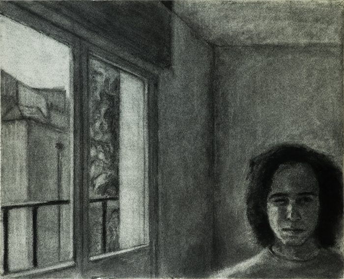 Drawing Through to the Garden (Charcoal on Paper, 495mm x 400mm, 2003)