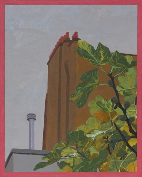 Figs, Chimneypots, High Grey Sky (Oil on Primed Paper, 257mm x 205mm, 2011)