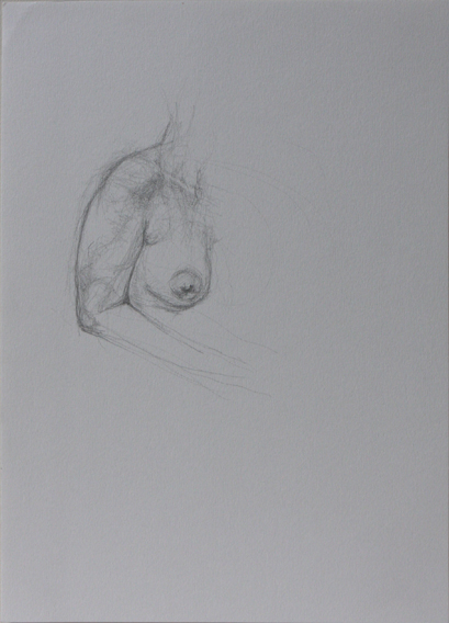 Life Drawing, Breast and Shoulder (Pencil on Paper, 296mm x 210mm, 2012)