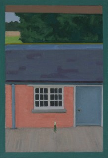 Overlooking the Stables (Oil on Primed Paper, 254mm x 174mm, 2016)