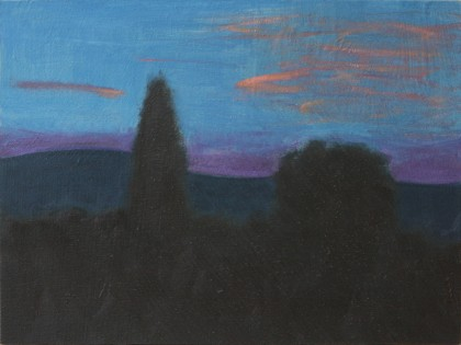 Sunset behind Volterra (Oil on Board, 150mm x 200mm, 2017)