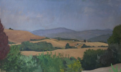 View from Pignano (Oil on Board, 295mm x 500mm, 2017)