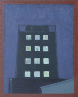 Tower Block (Oil on Primed Paper, 240mm x 200mm, 2017)