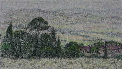 Spoleto Valley (Crayon on Paper, 140mm x 245mm, 2018)