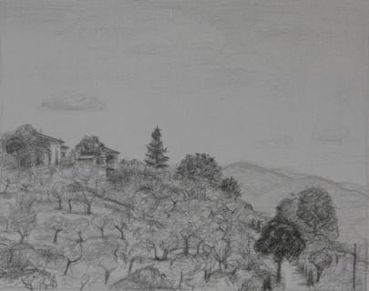Umbrian Hills (Pencil on Paper, 160mm x 200mm, 2018)