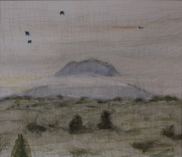 Memory of Monte Soratte (Pencil and Crayon on Paper, 160mm x 180mm, 2018)